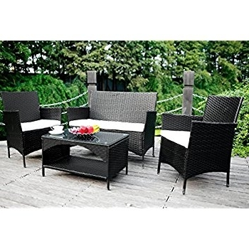 Amazon : Merax 4 Piece Outdoor Pe Rattan Wicker Sofa And Regarding Best And Newest Outdoor Sofas And Chairs (View 8 of 10)