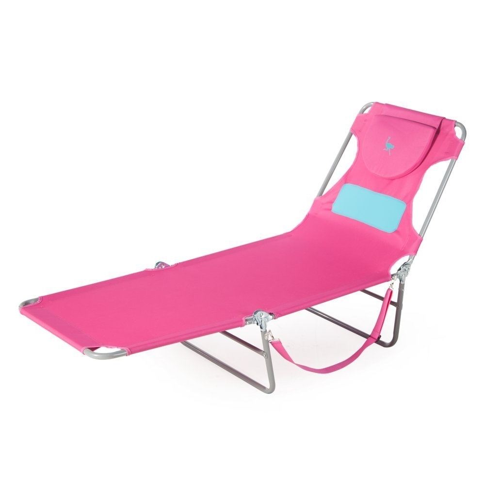 Amazon : Ostrich Ladies Comfort Lounger, Pink : Garden & Outdoor In Most Recently Released Chaise Lounge Chairs With Face Hole (View 1 of 15)