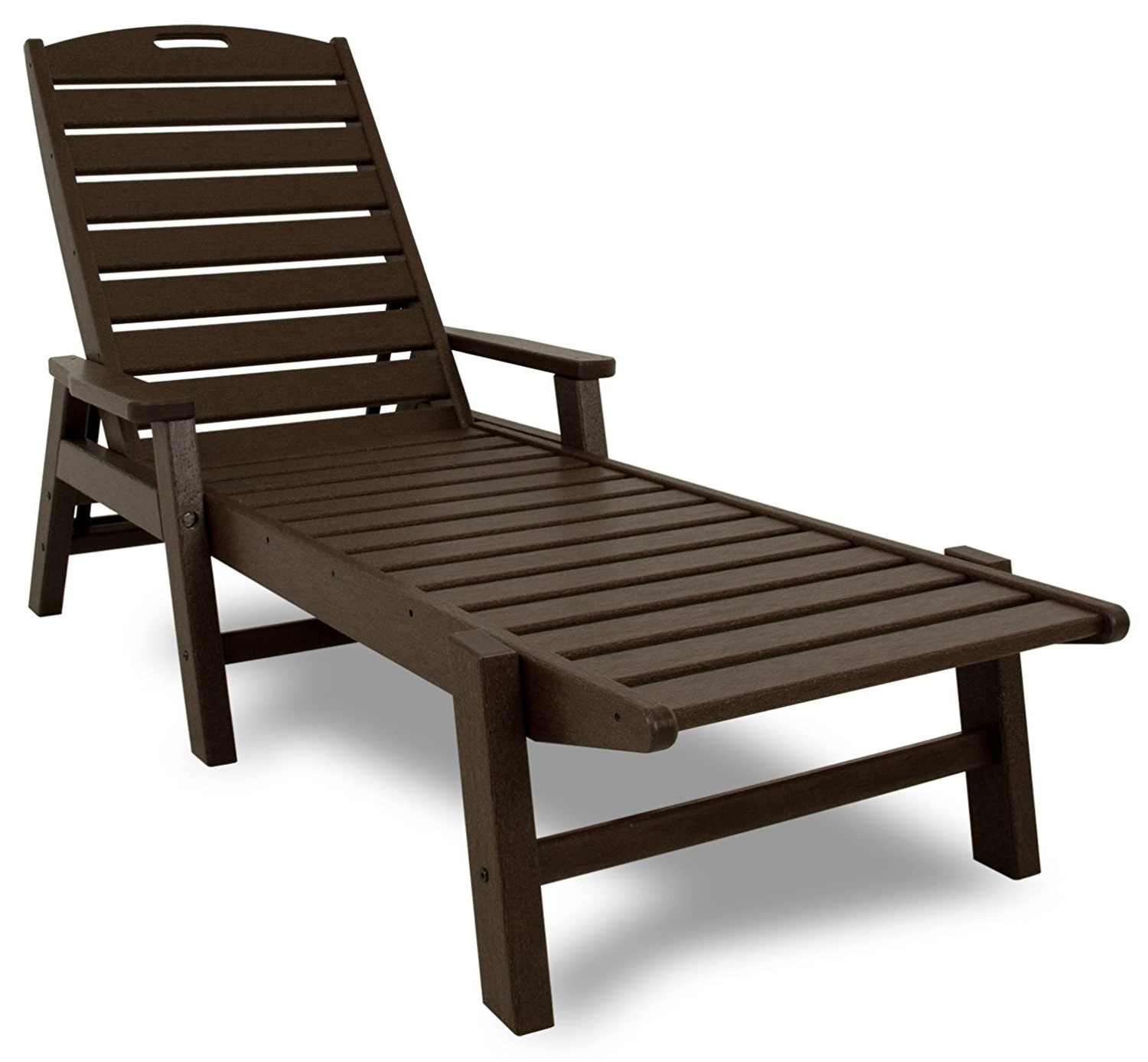 Amazon : Polywood Ncc2280Ma Nautical Chaise With Arms In Recent Outdoor Chaise Lounge Chairs With Arms (View 1 of 15)