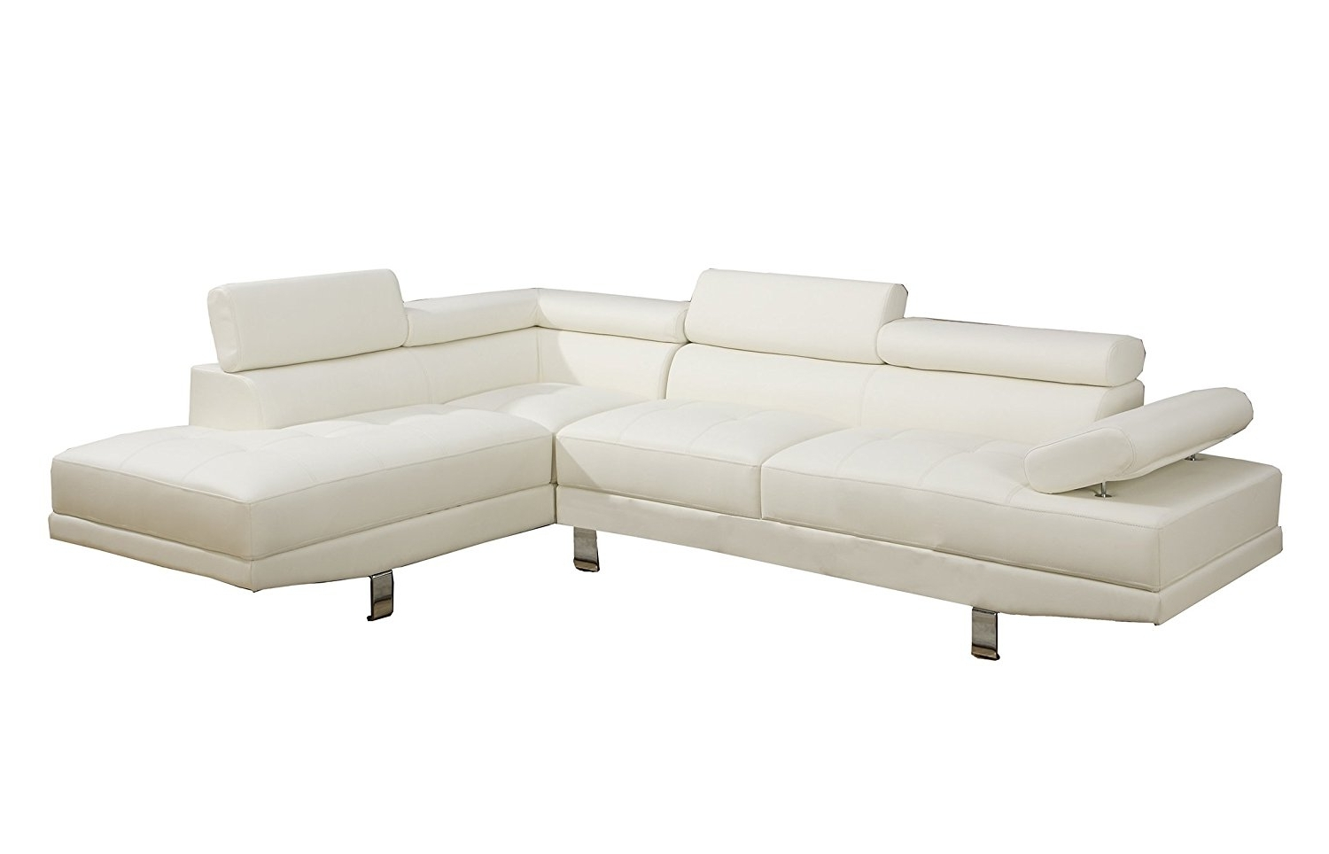 Amazon: Poundex 2 Pieces Faux Leather Sectional Right Chaise Inside Popular Chaise Sofas (View 8 of 15)