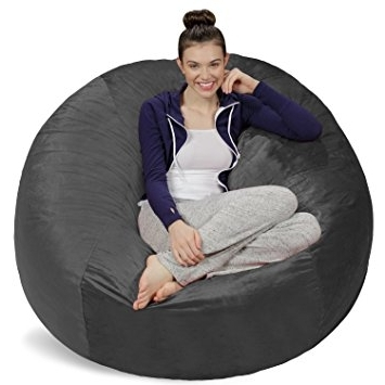 Amazon: Sofa Sack – Bean Bags Bean Bag Chair, 5 Feet, Charcoal Regarding Fashionable Bean Bag Sofas (View 2 of 10)