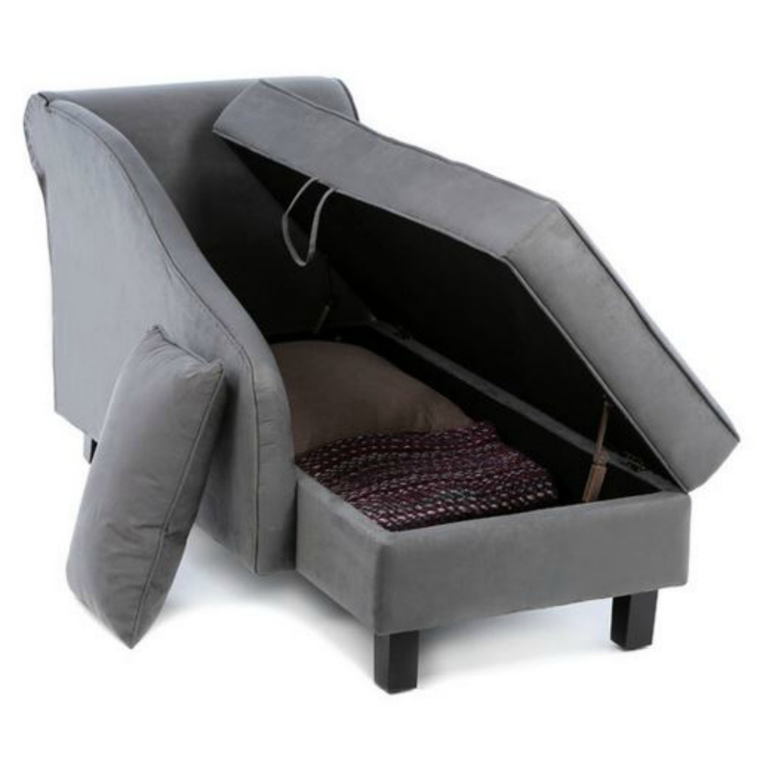 Amazon: Storage Chaise Lounge Chair This Microfiber Regarding Favorite Grey  Chaise Lounge Chairs (View