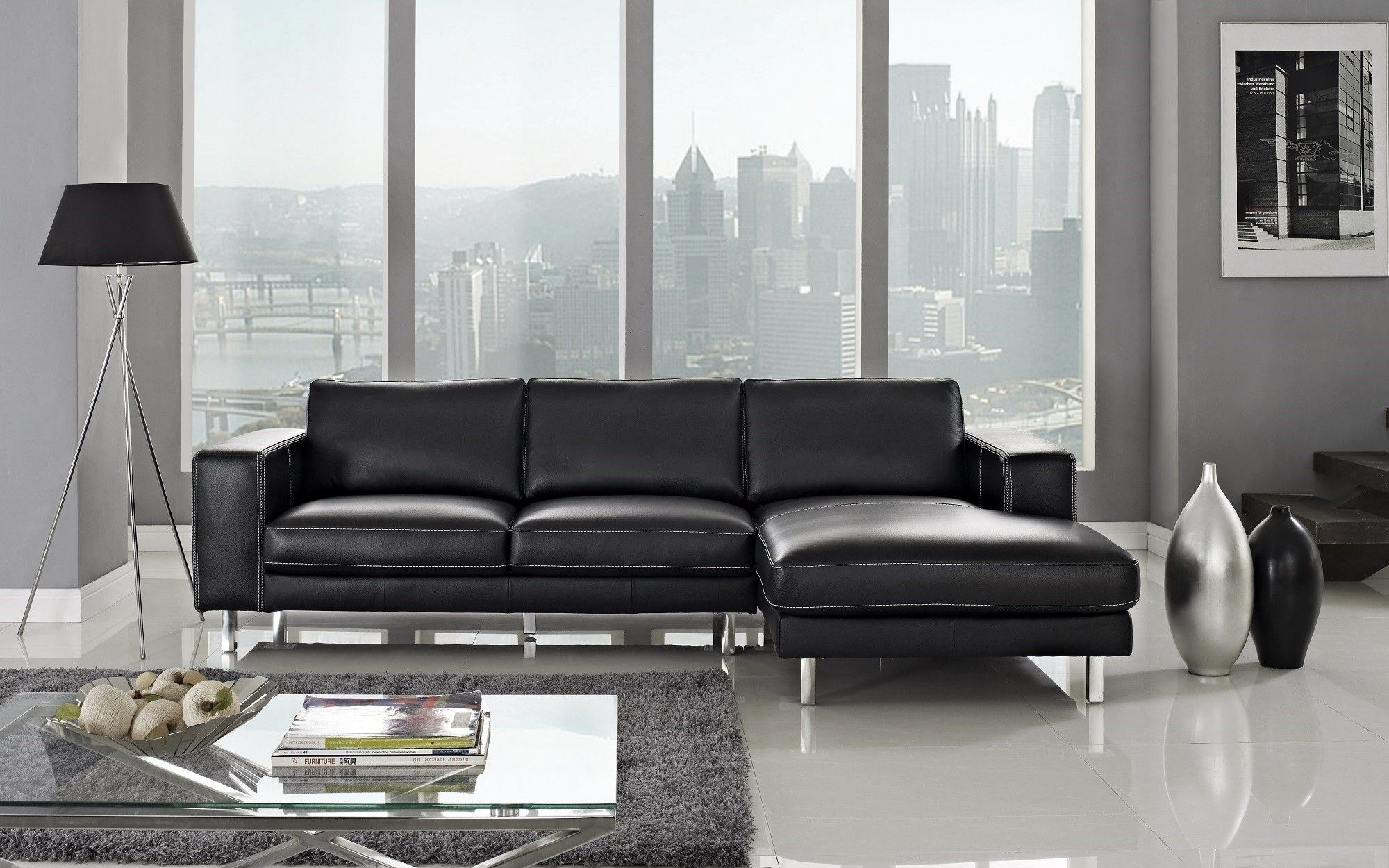 Anika Leather Sectional Left Facing Chaise Regarding Most Recently Released Leather Chaise Sectionals (View 1 of 15)