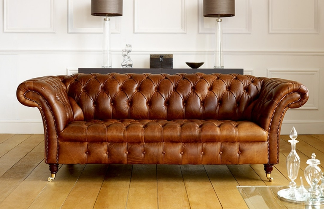 Aniline Leather Sofas Regarding Most Recent Barrington Vintage Leather Sofa (View 13 of 15)