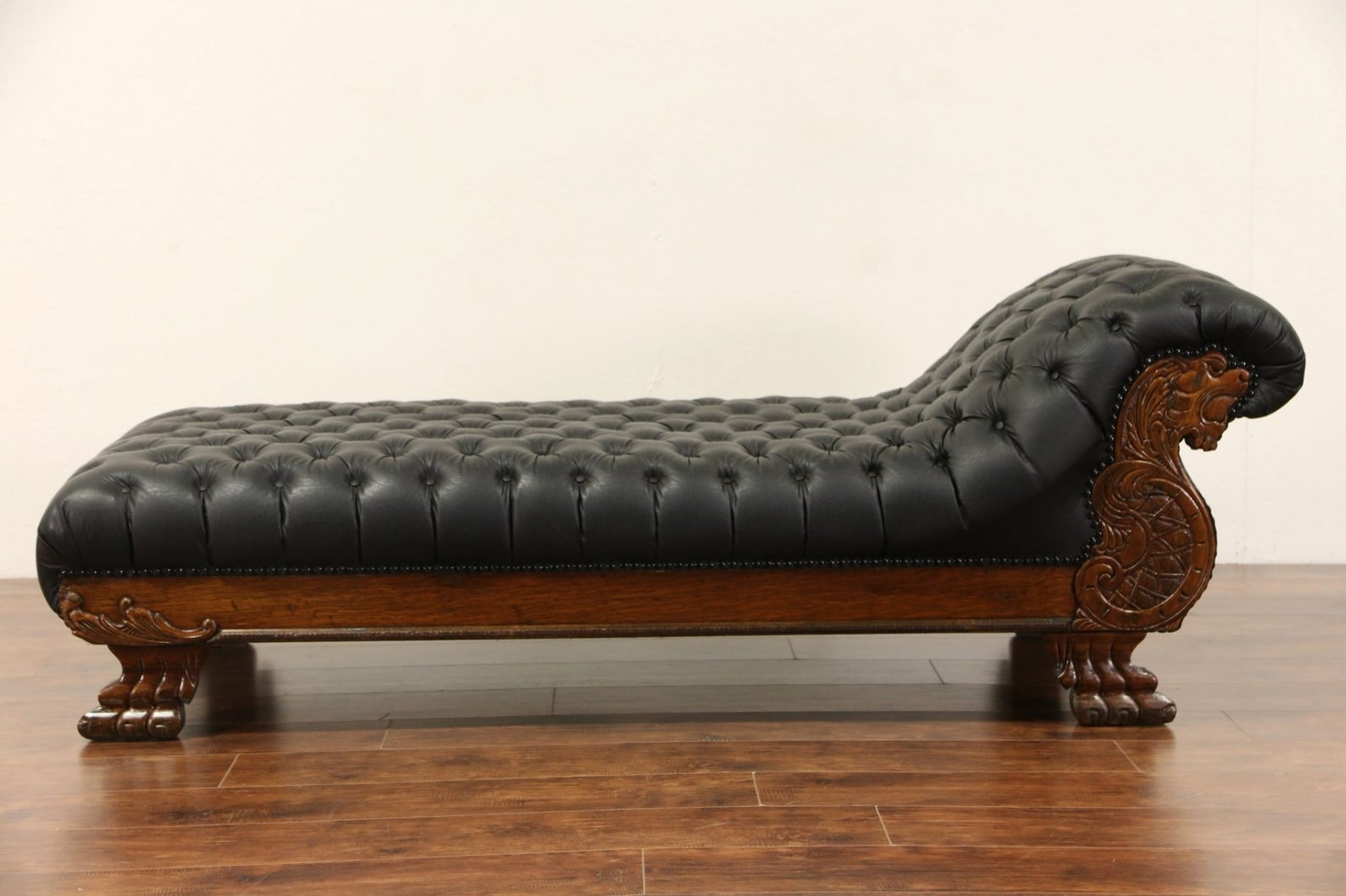 Antique Chaise Lounges Pertaining To Preferred Victorian Lion Carved 1900 Antique Oak Chaise Lounge Or (View 6 of 15)