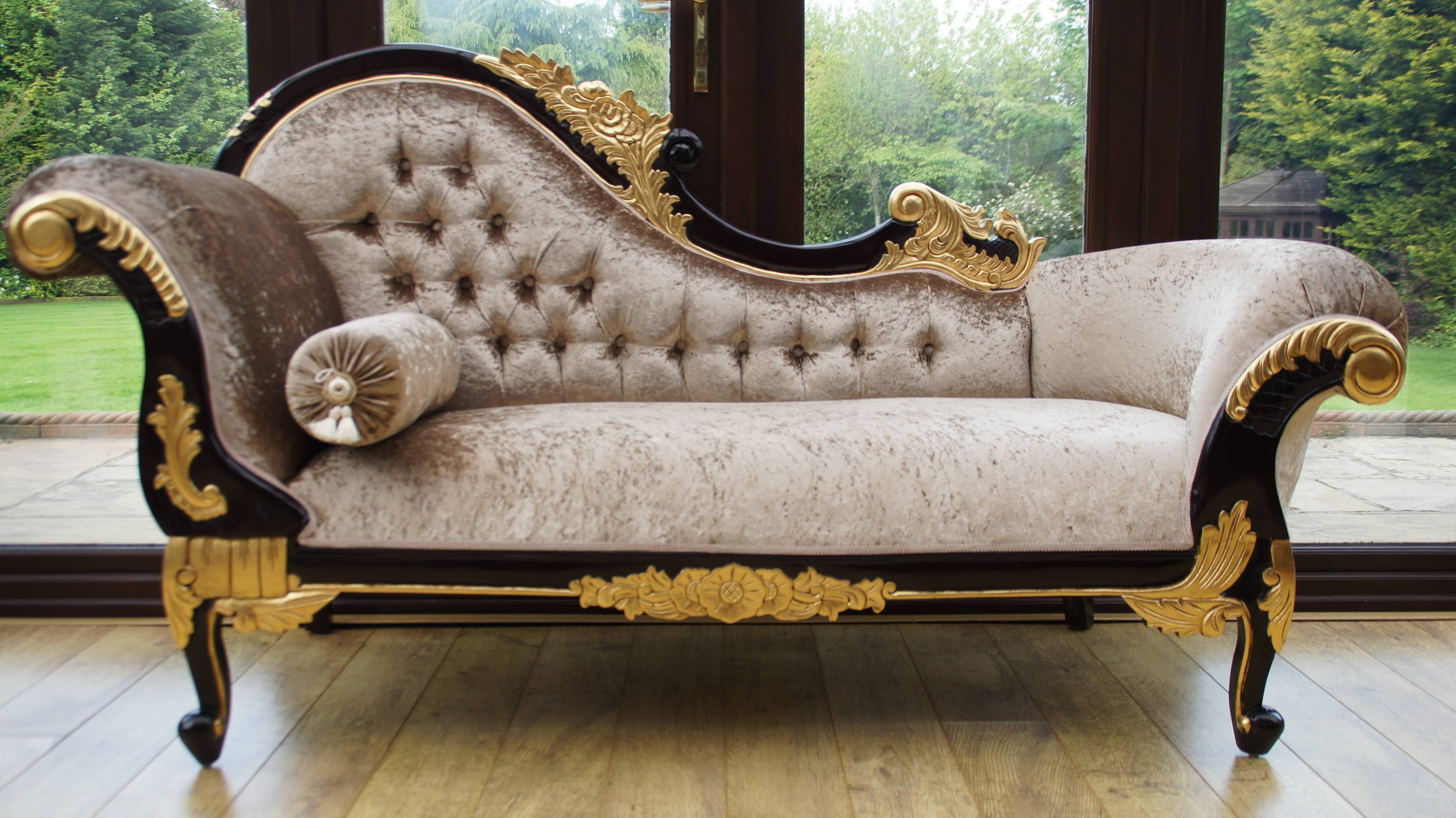 Antique Chaise Lounges With Regard To Most Recently Released Chaise Chair Beautiful Antique Furniture Black And Gold Velvet Of (View 7 of 15)
