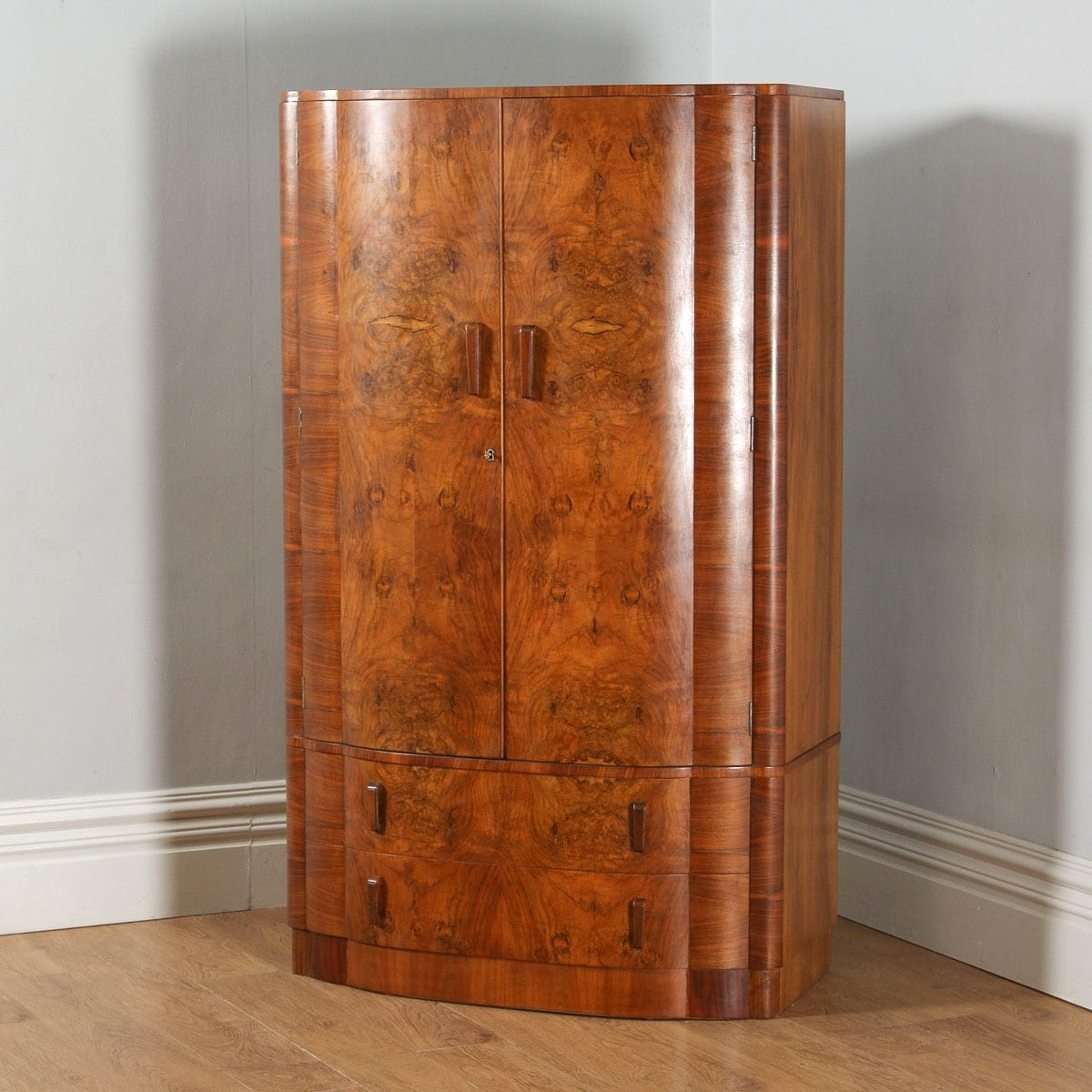 Antique English Art Deco Burr Walnut Bow Front Cloud Design With Preferred Antique Single Wardrobes (View 2 of 15)