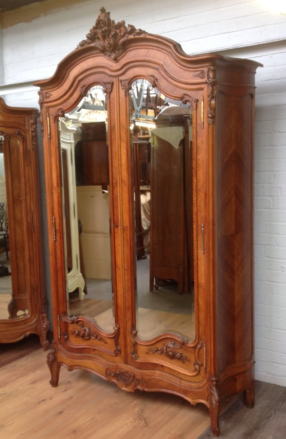 Antique French Walnut Armoire With Carved Doors (View 2 of 15)