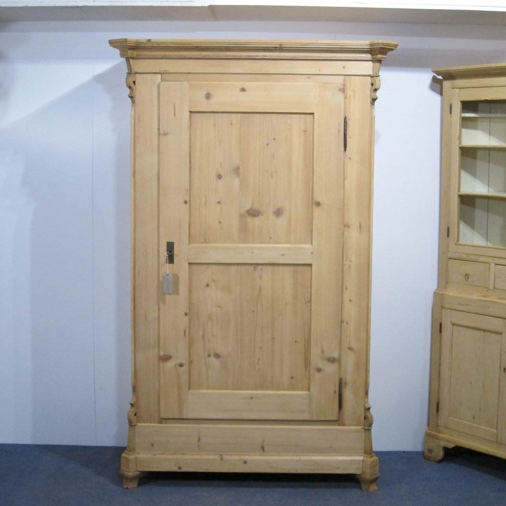 Antique Single Wardrobes Intended For Most Popular A Tall, Slim Antique Pine Single Door Wardrobe Dating From  (View 3 of 15)