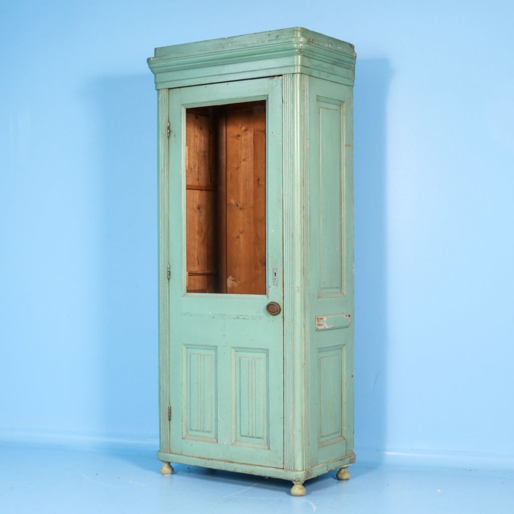 Antique Single Wardrobes Regarding Most Popular Narrow Antique Single Door Armoire / Cabinet With Green Paint (View 7 of 15)