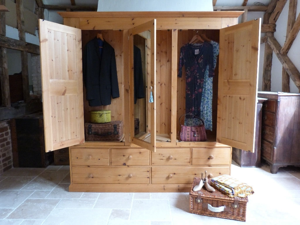 Antique Style Waxed Pine Triple 3 Door Wardrobe With Mirror And For Most Recent Antique Style Wardrobes (View 5 of 15)