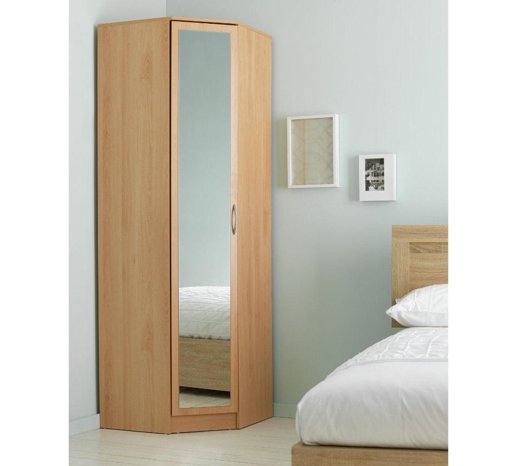 Argos Cheval 1door Mirrored Corner Wardrobe Beech Effect (View 8 of 15)