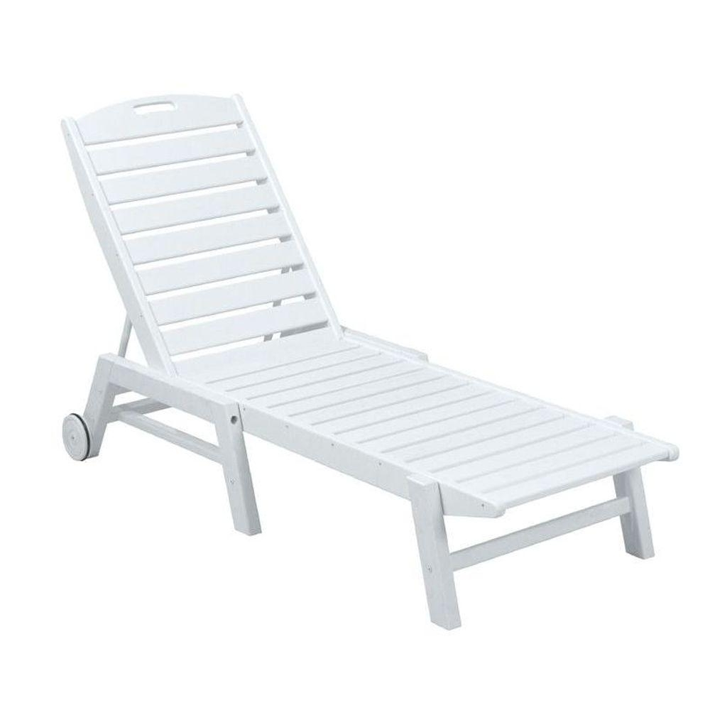 Armless Chaise Lounges Intended For Most Popular Polywood Nautical White Wheeled Armless Plastic Outdoor Patio (View 4 of 15)