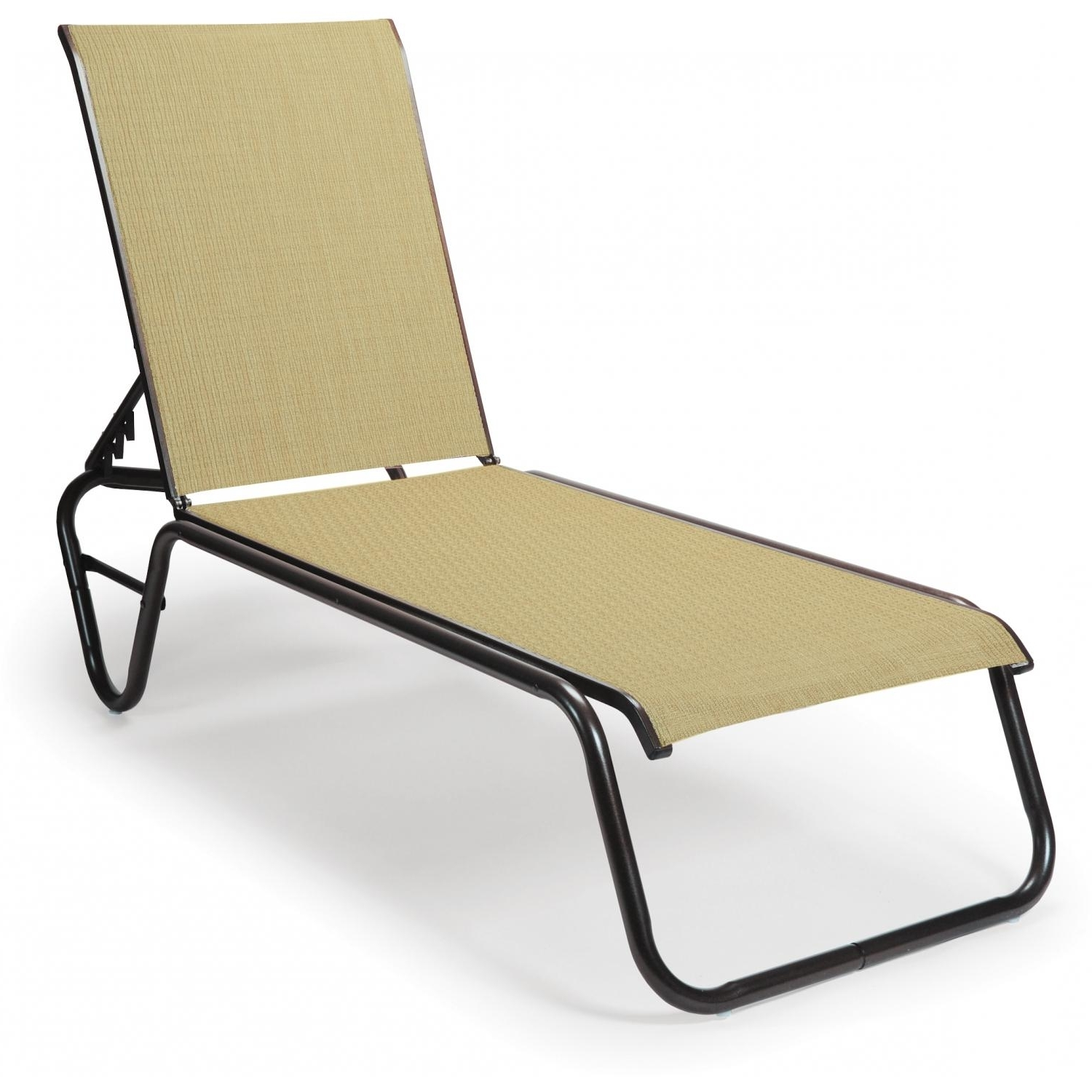 Armless Chaise Lounges Within Famous Telescope Casual Gardenella Sling Patio Stacking Armless Chaise (View 6 of 15)
