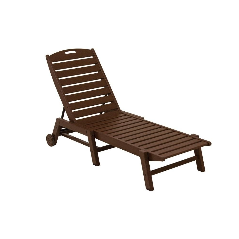 Armless Outdoor Chaise Lounge Chairs Intended For Well Known Polywood Nautical White Wheeled Armless Plastic Outdoor Patio (View 1 of 15)