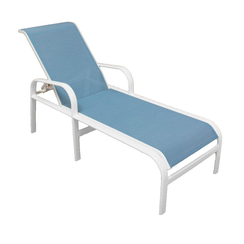 Armless Outdoor Chaise Lounge Chairs Regarding Most Up To Date Aluminum – Patio Chairs – Patio Furniture – The Home Depot (View 3 of 15)