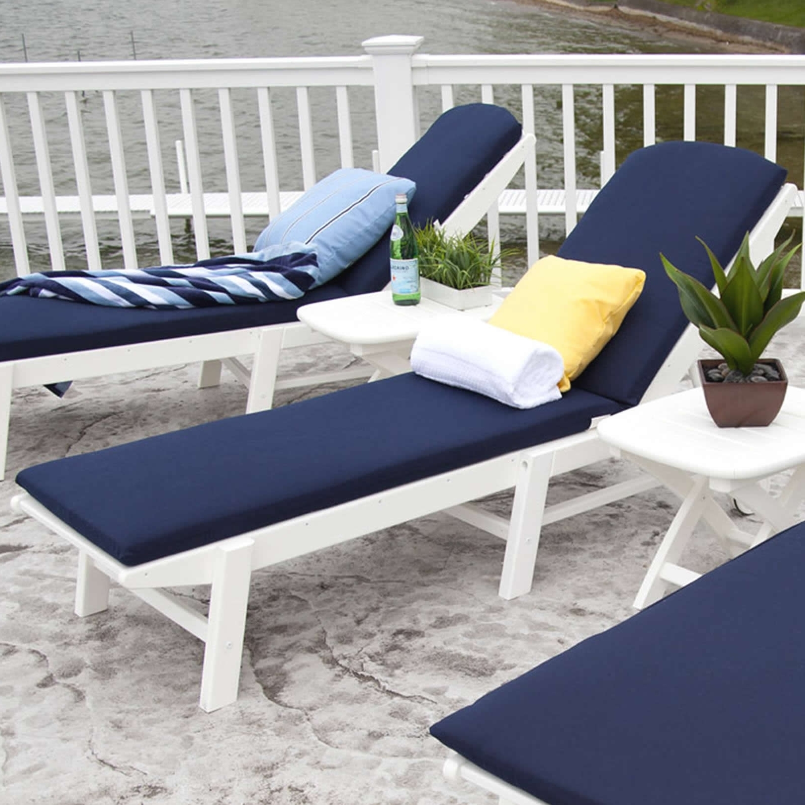 Armless Outdoor Chaise Lounge Chairs Within Fashionable Polywood Nautical Chaise Lounge Cushions (View 4 of 15)