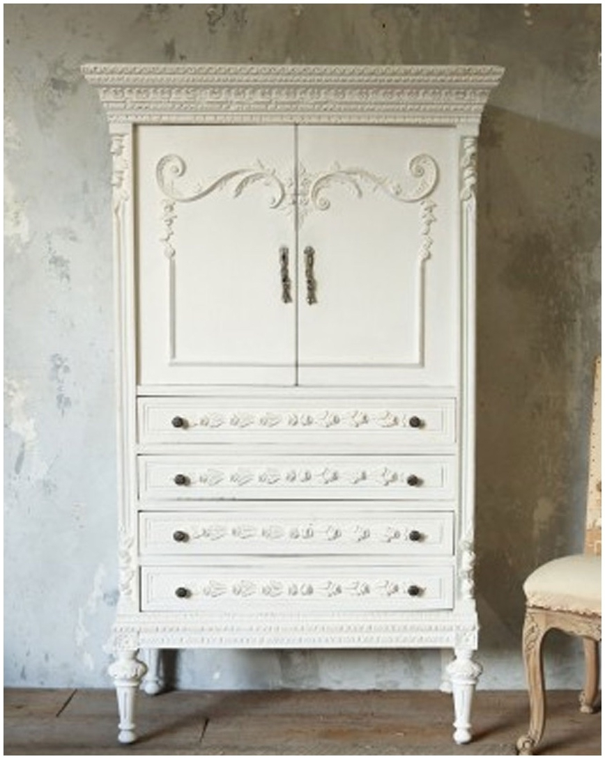 Armoire: Wondrous Plain White Armoire Closet For Modern Furniture Inside Most Up To Date White Vintage Wardrobes (View 10 of 15)