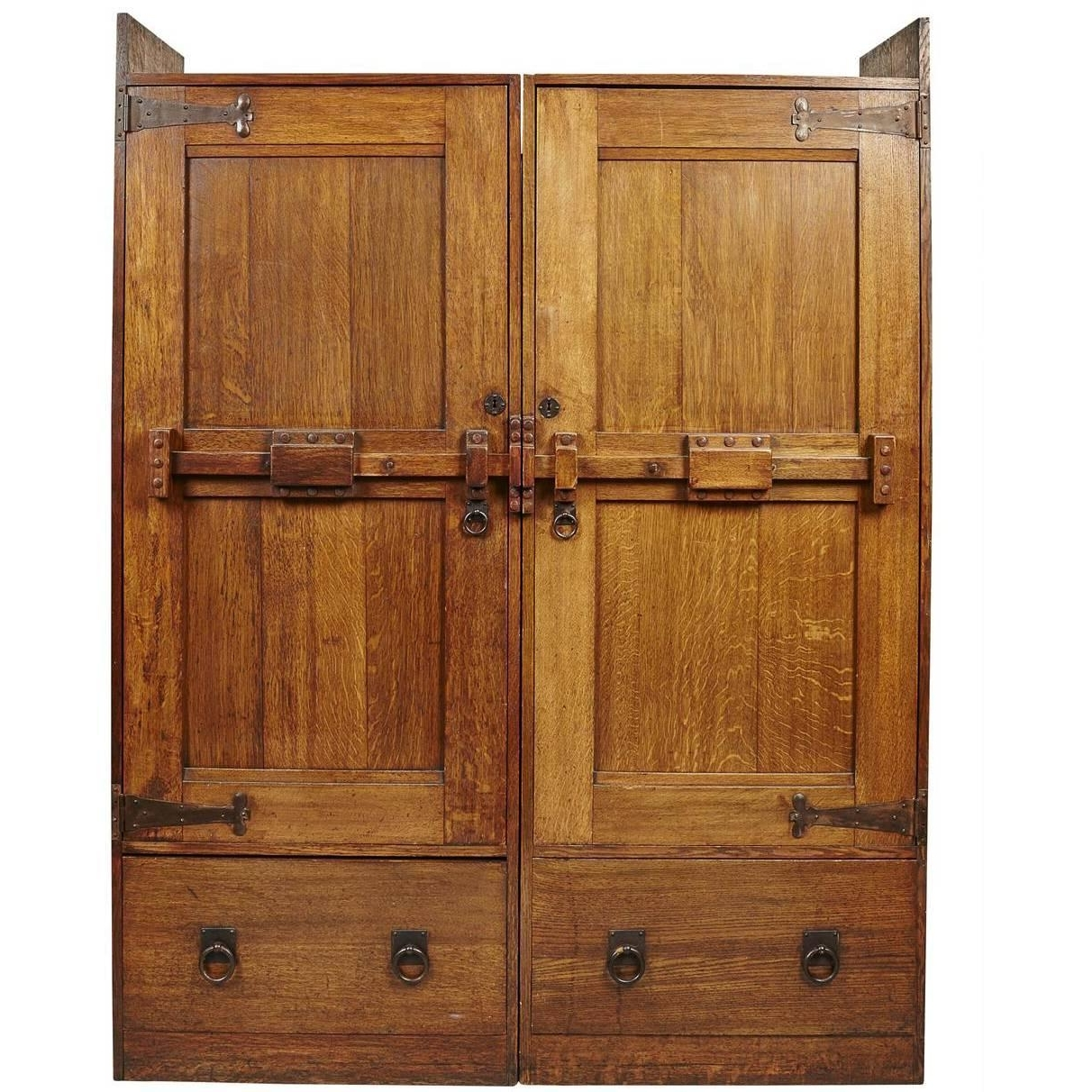 Arts And Crafts Oak Treble Wardrobe With Five Drawersliberty In Trendy Large Oak Wardrobes (View 3 of 15)