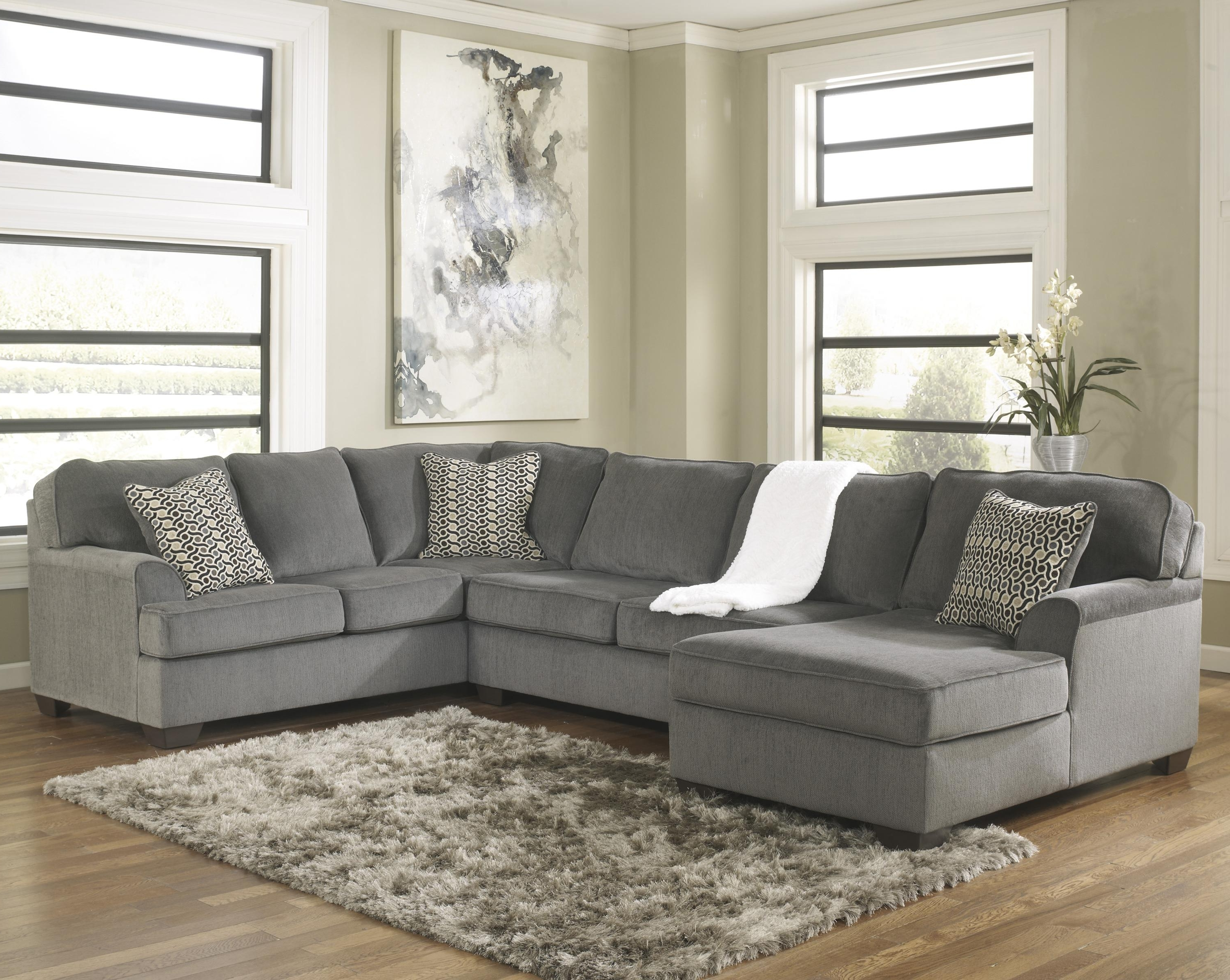 Ashley Furniture Chaise Sofas Regarding Widely Used Ashley Furniture Loric – Smoke Contemporary 3 Piece Sectional With (View 2 of 15)
