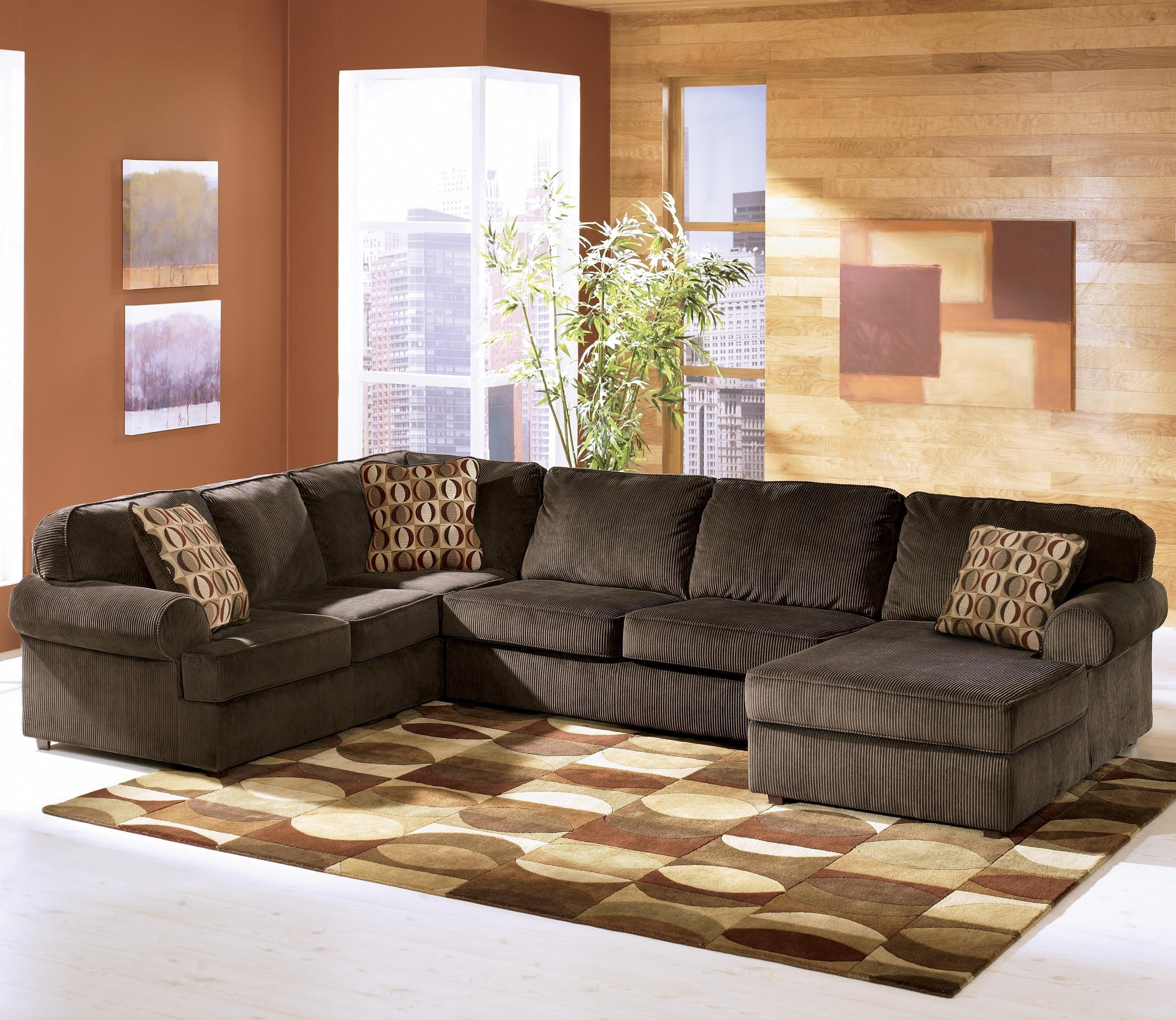 Ashley Furniture Sofa Chaises In Well Known Ashley Furniture Vista – Chocolate Casual 3 Piece Sectional With (View 2 of 15)
