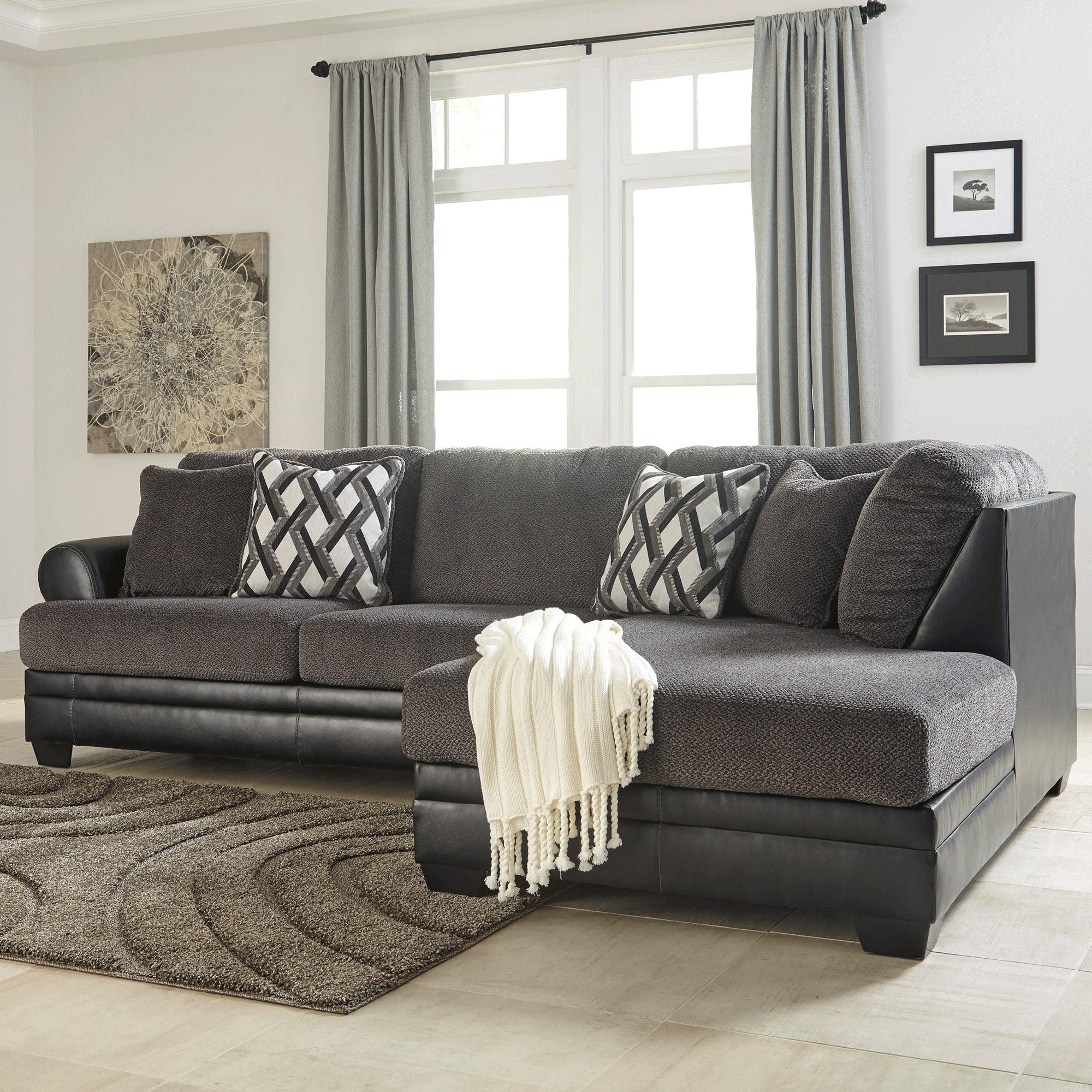 Ashley Furniture Sofa Chaises Throughout Most Current Kumasi Smoke 2 Piece Sectional – Bernie & Phyl's Furniture – (View 15 of 15)