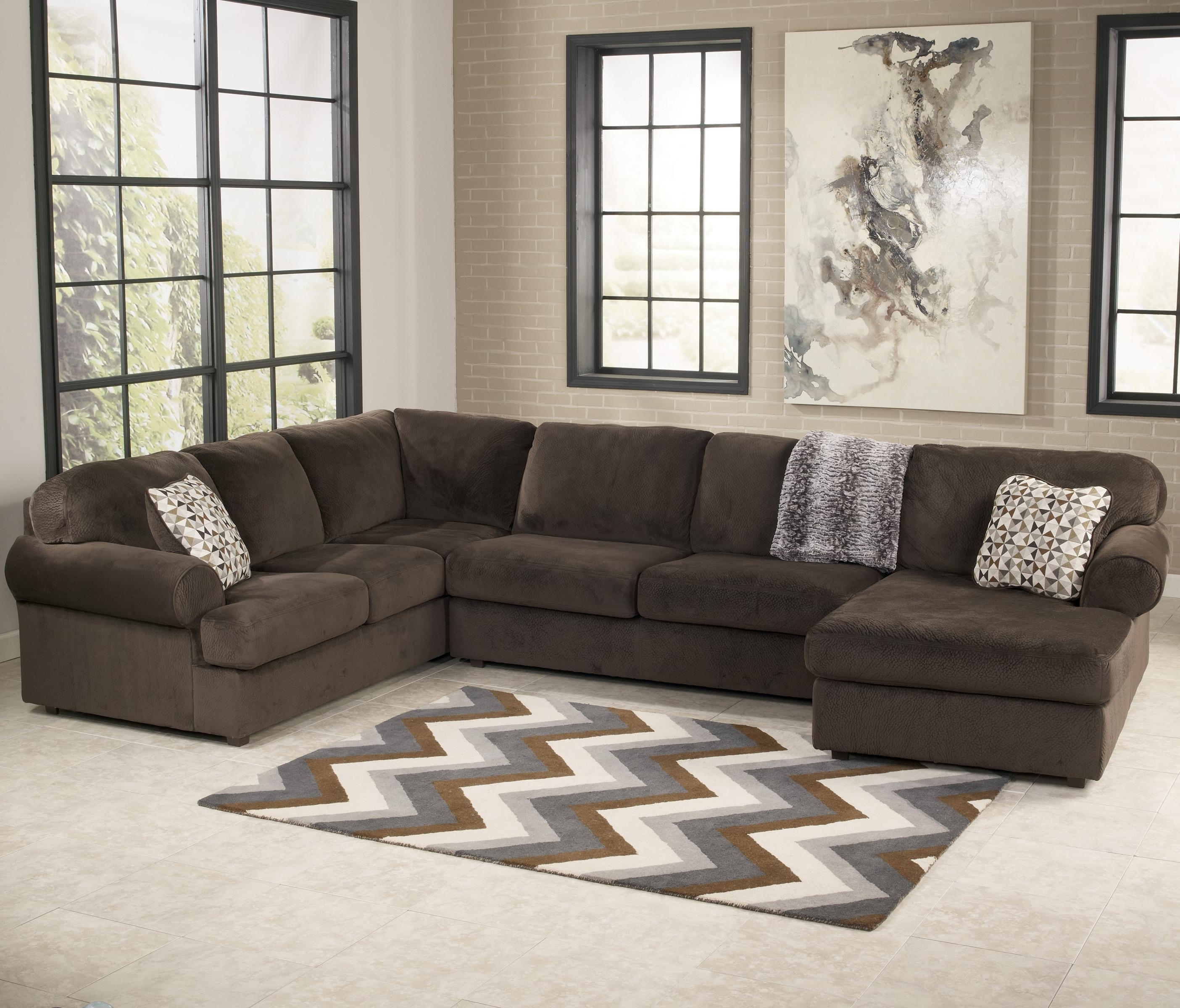 Ashley Furniture Sofa Chaises With Current Ashley Signature Design Jessa Place – Chocolate Casual Sectional (View 5 of 15)