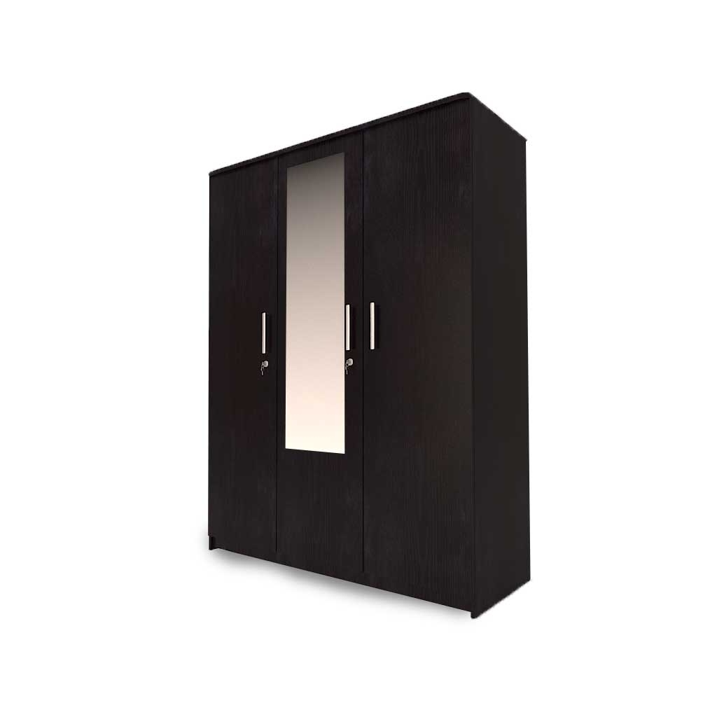 Aura 3 Door Wardrobe In Dark Wenge With Mirror – Woodys Furniture With Regard To Widely Used 3 Door Wardrobes (View 4 of 15)
