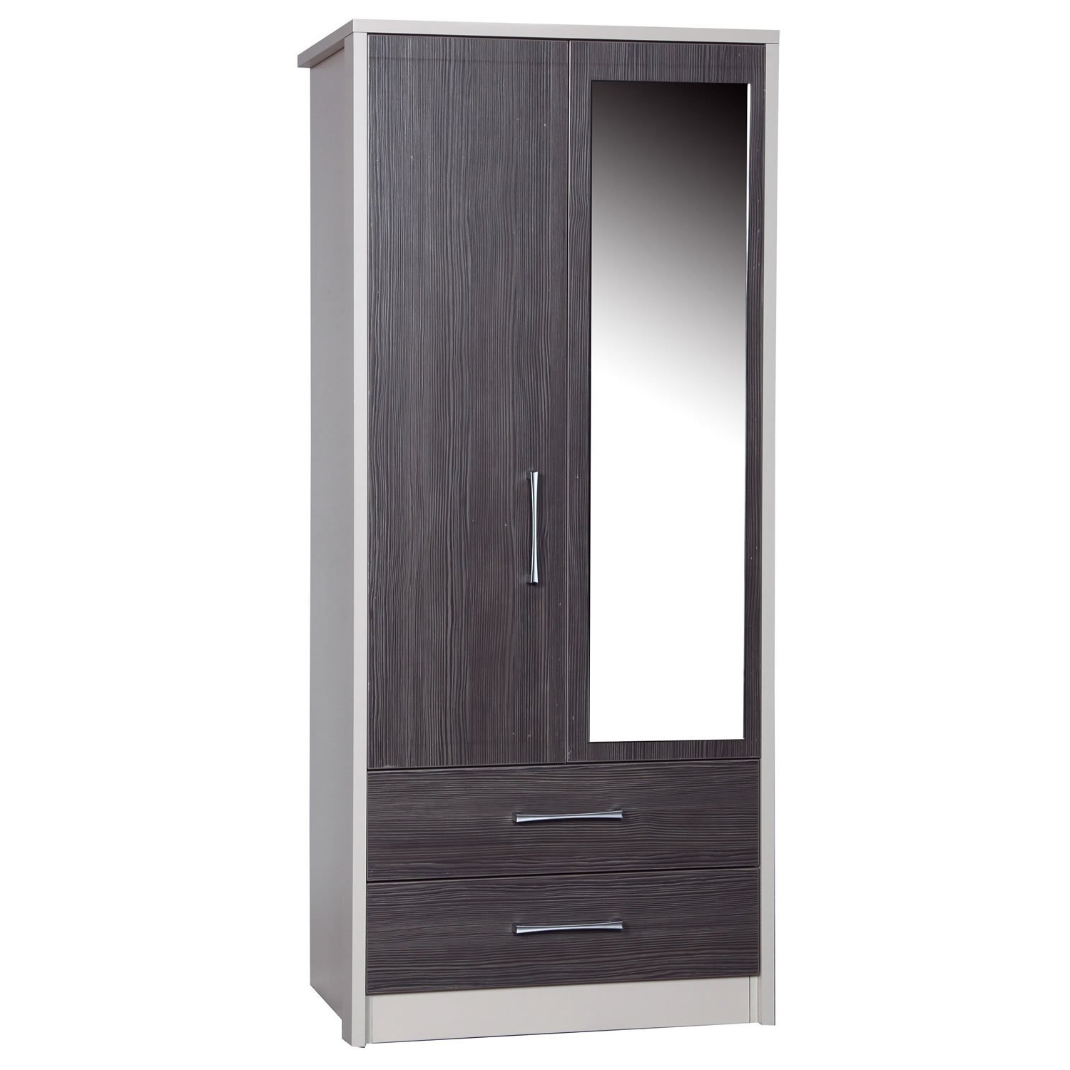 Avola Grey 2 Door 2 Drawer Combi Wardrobe With Mirror – Next Day With Trendy One Door Mirrored Wardrobes (Gallery 14 of 15)