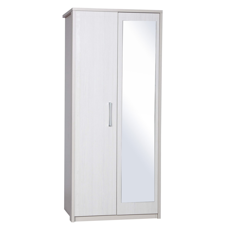 Avola White 2 Door Wardrobe With Mirror (View 2 of 15)