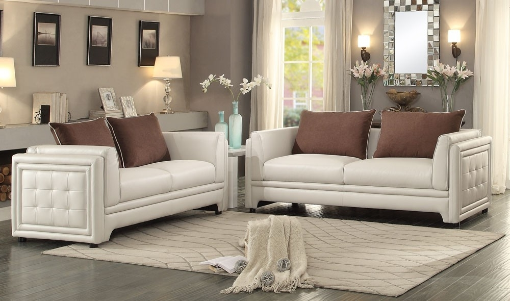 Azure Contemporary Leather Sofa Throughout 2017 Off White Leather Sofas  (View 1 Of 10)