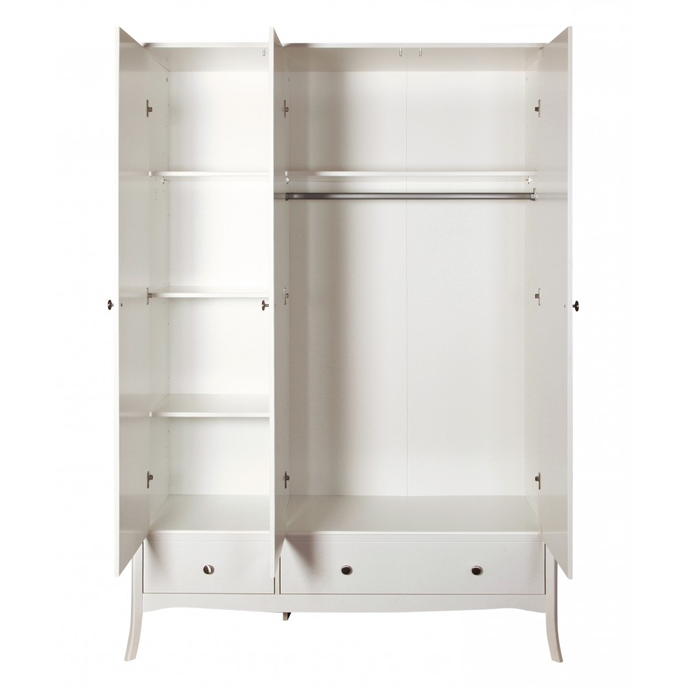 Baroque 3 Door Wardrobe White. Traditional Elegant Wardrobes (View 8 of 15)