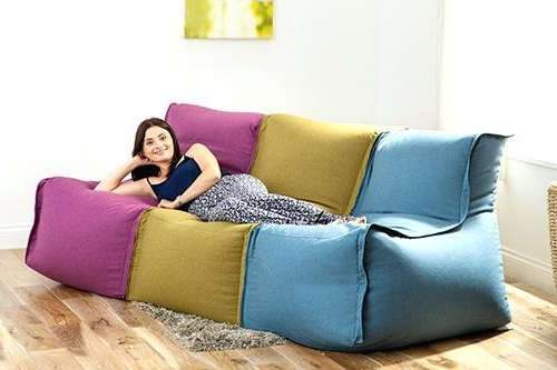 Bean Bag Sofas And Chairs Intended For Trendy Bean Bag Chair Couch Bean Bag Couches Large Chair Com Lounge Bed (View 10 of 10)