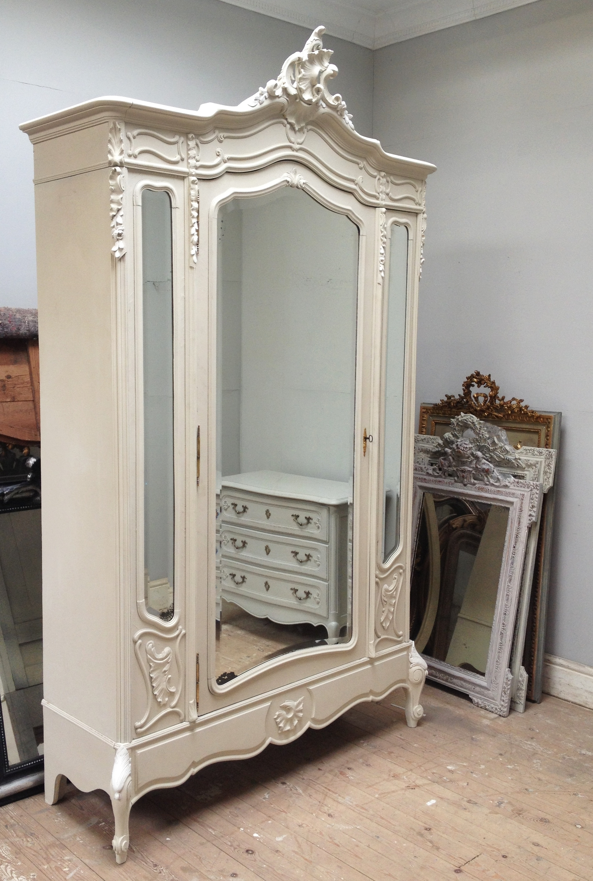 Beautiful Antique French Rococo Armoire / Circa 1900 / 3 Door Within Fashionable Rococo Wardrobes (View 1 of 15)