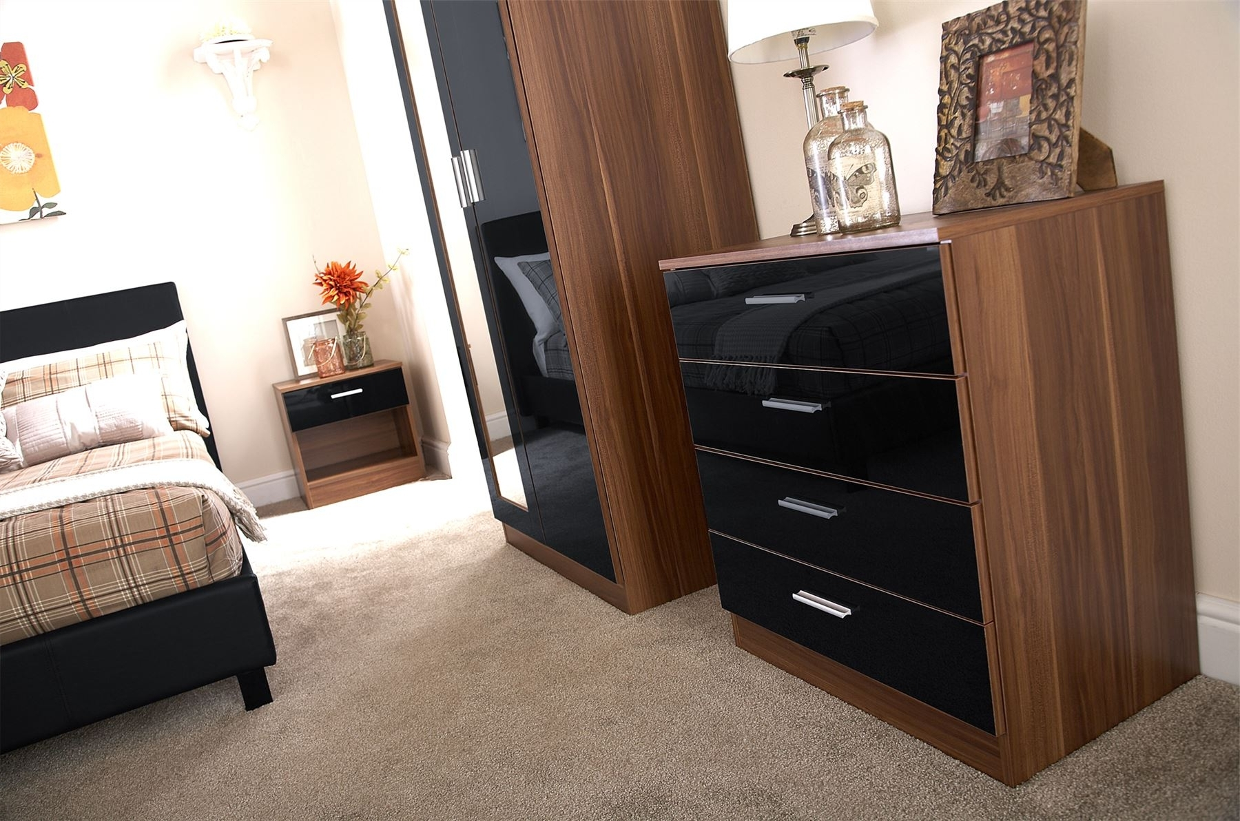 Bedroom Furniture 3 Piece Set Black Gloss & Walnut Wardrobe Intended For Current Wardrobes And Chest Of Drawers Combined (View 1 of 15)