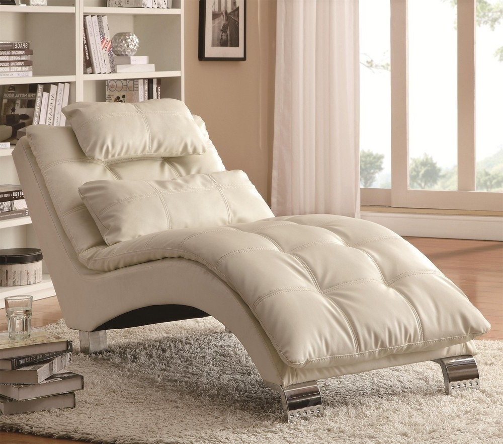 Bedroom: Impressive White Leather Tufted Lounge Chair In Chrome For Latest Bedroom Chaise Lounges (View 10 of 15)