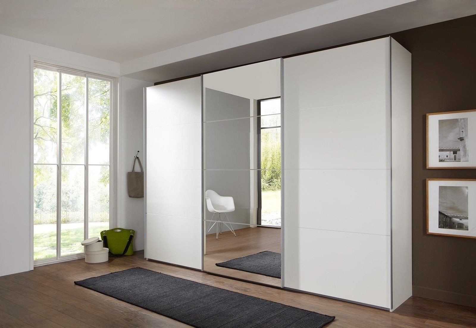 Bergen Wardrobe White With Mirror Doors And Drawers Wardrobes Door Inside Best And Newest White Mirrored Wardrobes (View 8 of 15)