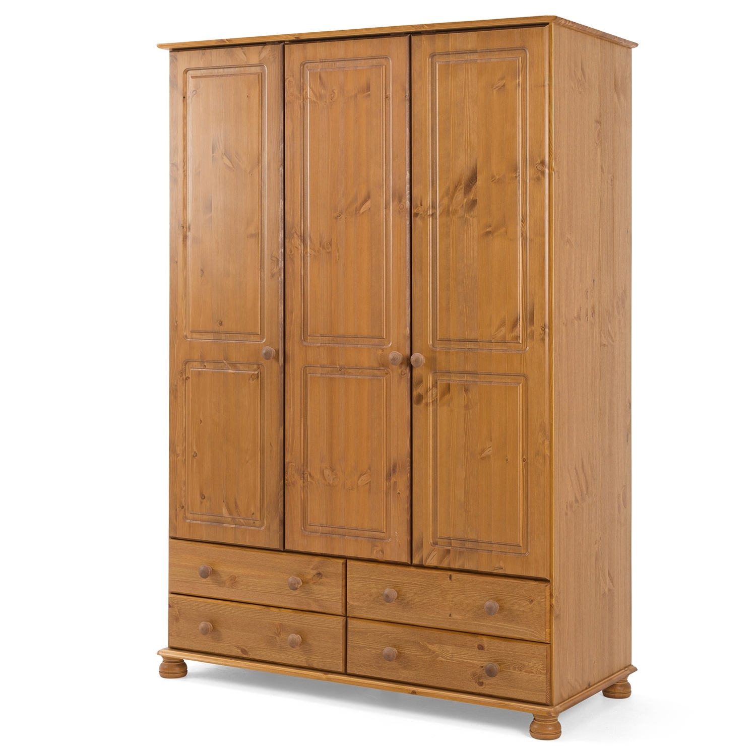 Best And Newest 3 Door Pine Wardrobes Pertaining To Steens Richmond 3 Door 4 Drawer Wardrobe In Pine – Next Day (View 2 of 15)