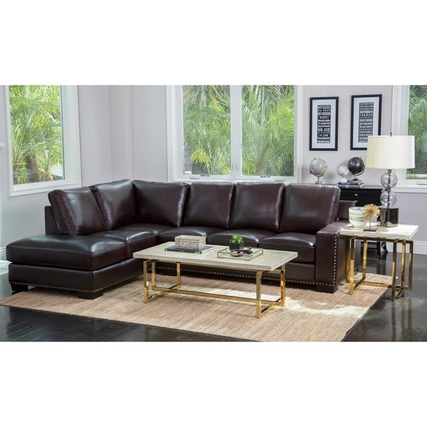 Best And Newest Abbyson Monaco Brown Top Grain Leather Sectional Sofa – Free Regarding Abbyson Sectional Sofas (View 13 of 15)