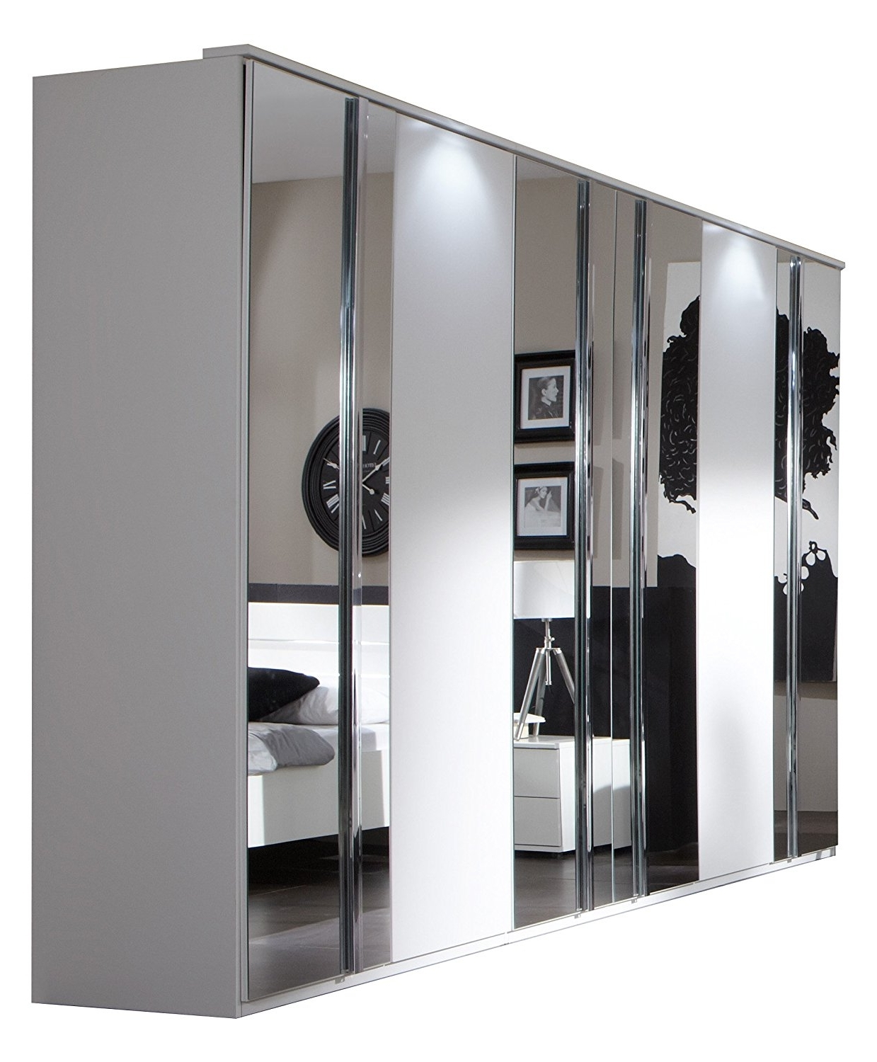 Best And Newest Black Wardrobes With Mirror Within Davos 6 Door Wardrobe: Amazon.co (View 2 of 15)