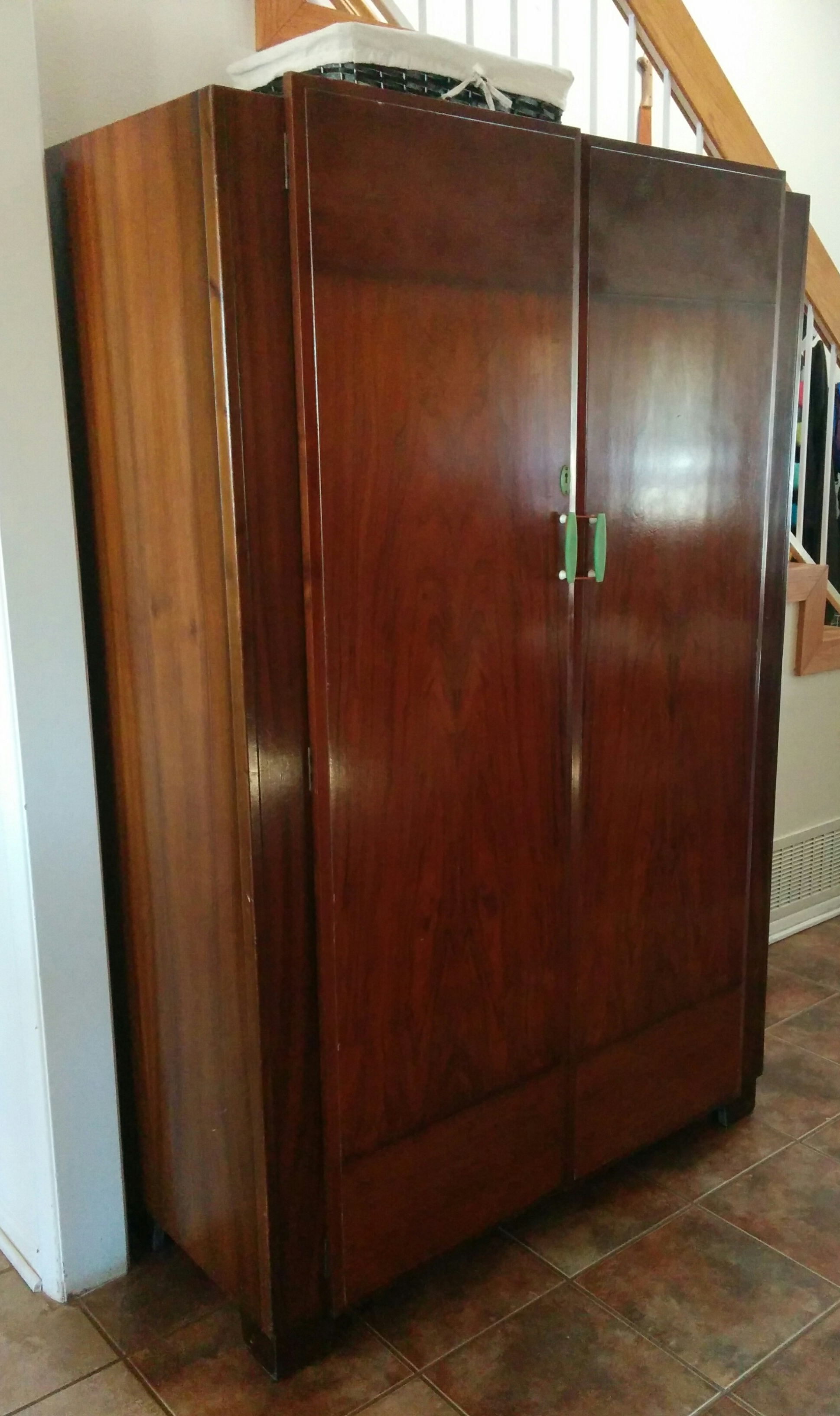 Best And Newest Black Wood Wardrobes For Furniture: Brown Wood Armoire Wardrobe With Simple Amerock And (View 3 of 15)