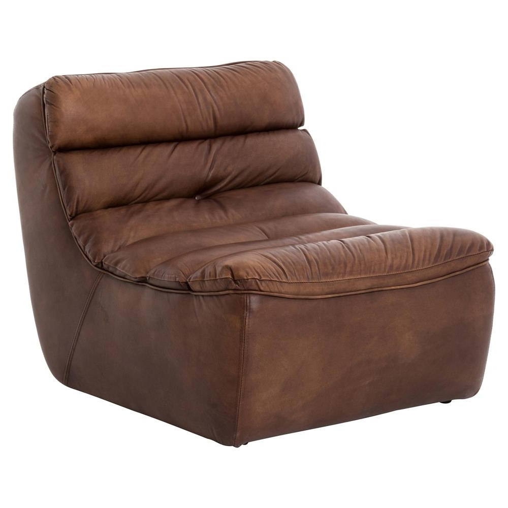 Best And Newest Brown Chaise Lounges In Lammerley Rustic Lodge Brown Leather Channel Back Chaise Lounge (View 3 of 15)