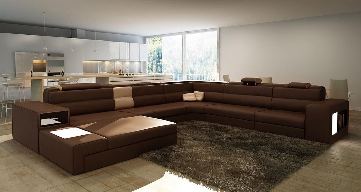 Best And Newest Brown Large Sectional — Awesome Homes : Beautiful Living Room With With Long Modern Sofas (View 1 of 10)
