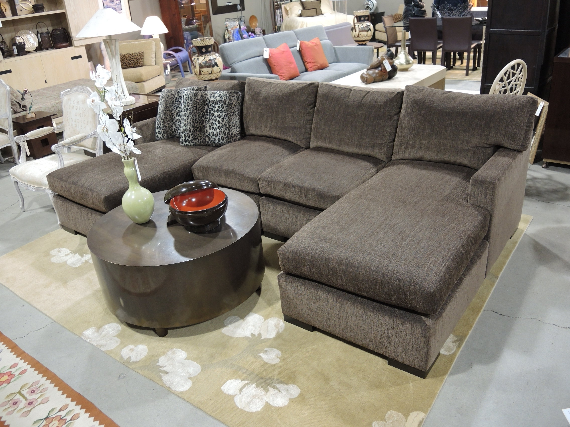 Best And Newest Chaise Sofa Sectionals With Small Double Chaise Sectional Sofa With Leopard Pillows And Round (View 14 of 15)