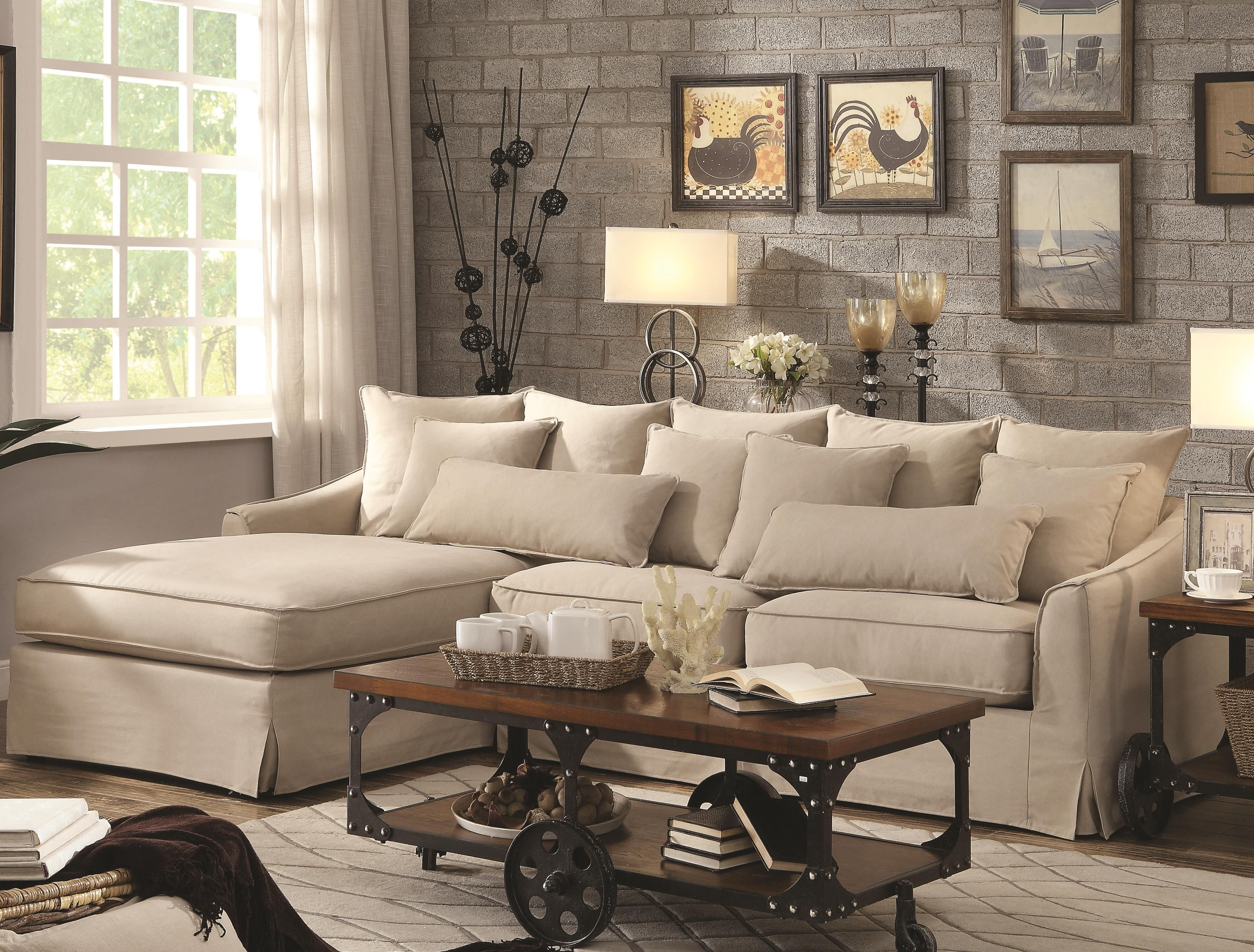 Best And Newest Coaster Knottley Slipcovered Sectional Sofa With Chaise And Inside Beige Sectionals With Chaise (View 7 of 15)