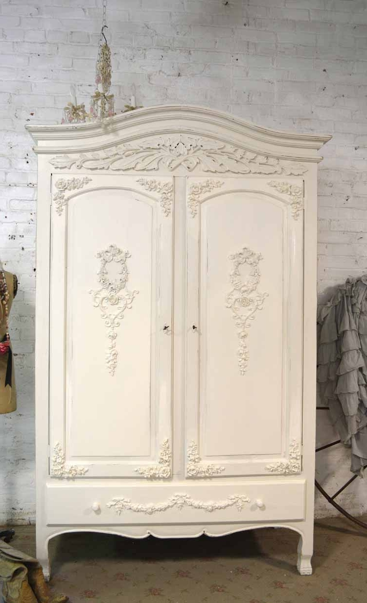 Best And Newest Cream French Wardrobes For French Armoire Painted Cottage Chic Shabby French Romantic Armoi (View 2 of 15)