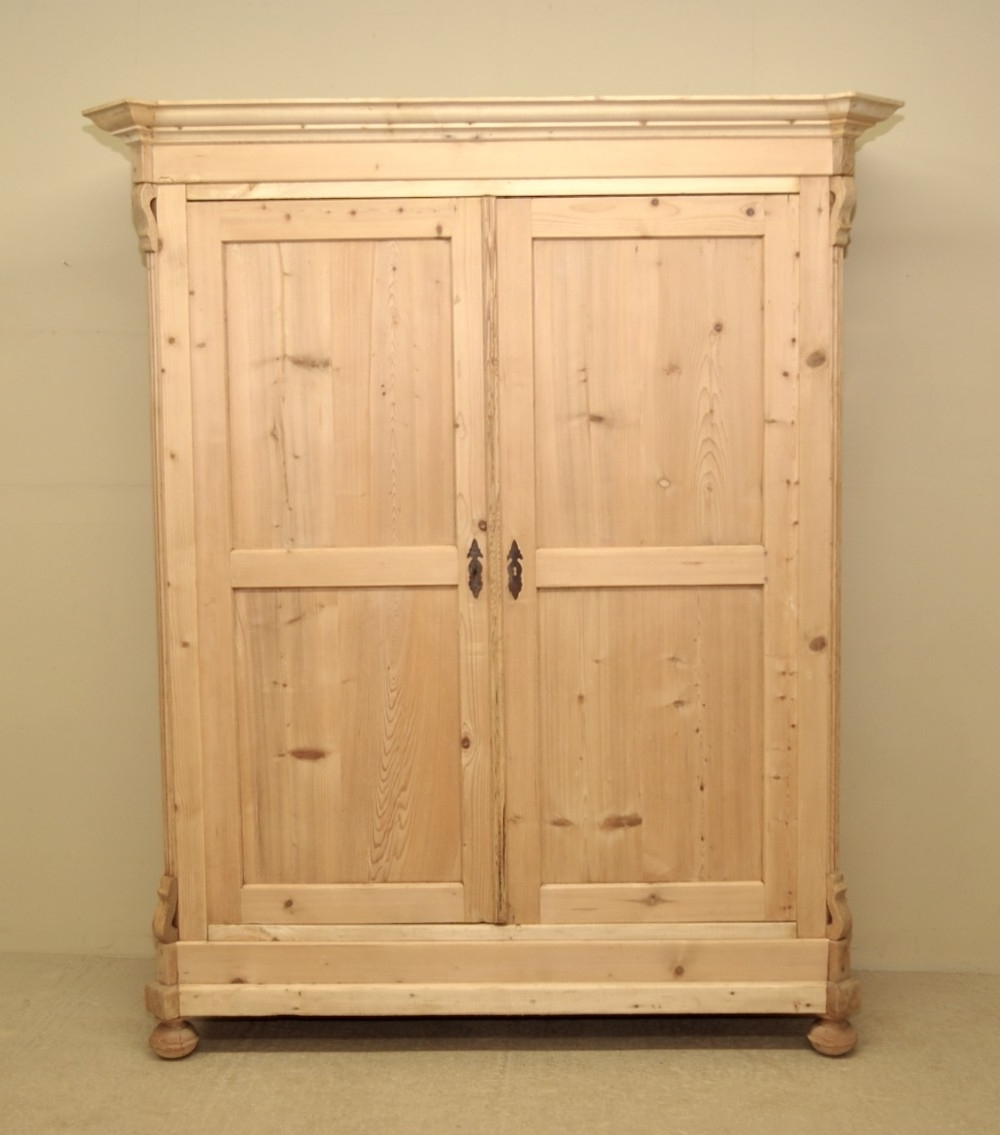 Best And Newest Double Pine Wardrobes In Large Antique Pine Double Wardrobe (View 2 of 15)