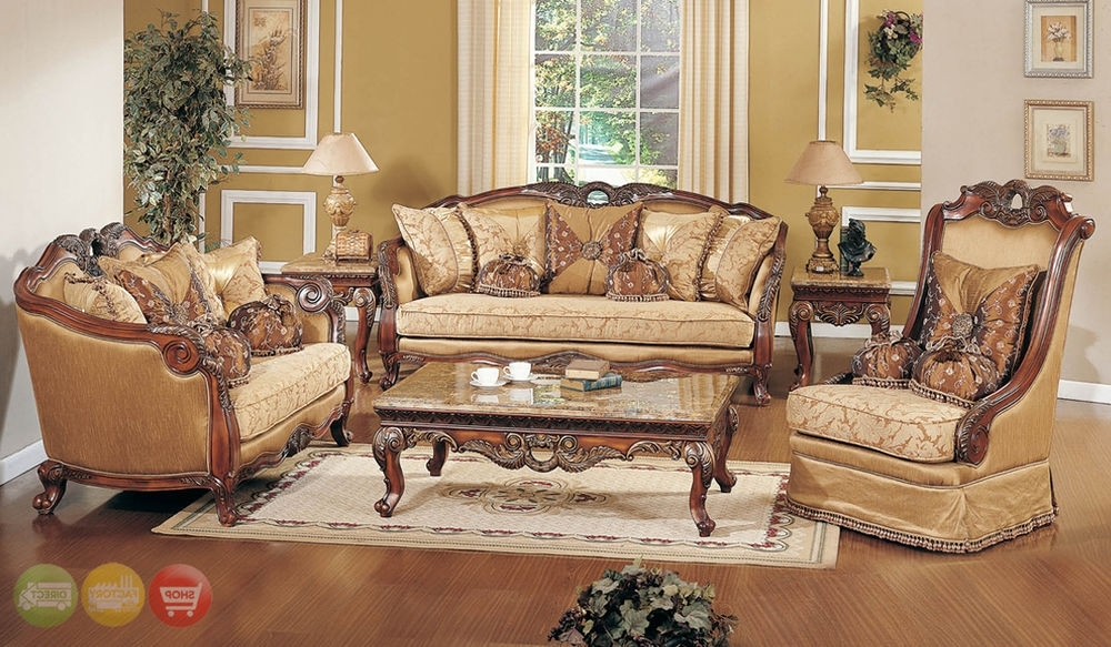 Best And Newest Exposed Wood Luxury Traditional Sofa & Loveseat Formal Living Room Within Living Room Sofa And Chair Sets (View 3 of 10)