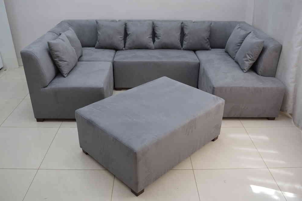 Best And Newest Faux Suede Sofas Inside Mini Modular Sofa Grey Faux Suede Fabric (View 7 of 10)