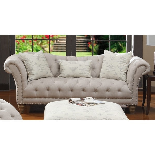Best And Newest Hutton Off White Linen Look Button Tufted Sofa – Free Shipping With Regard To Tufted Linen Sofas (View 4 of 10)